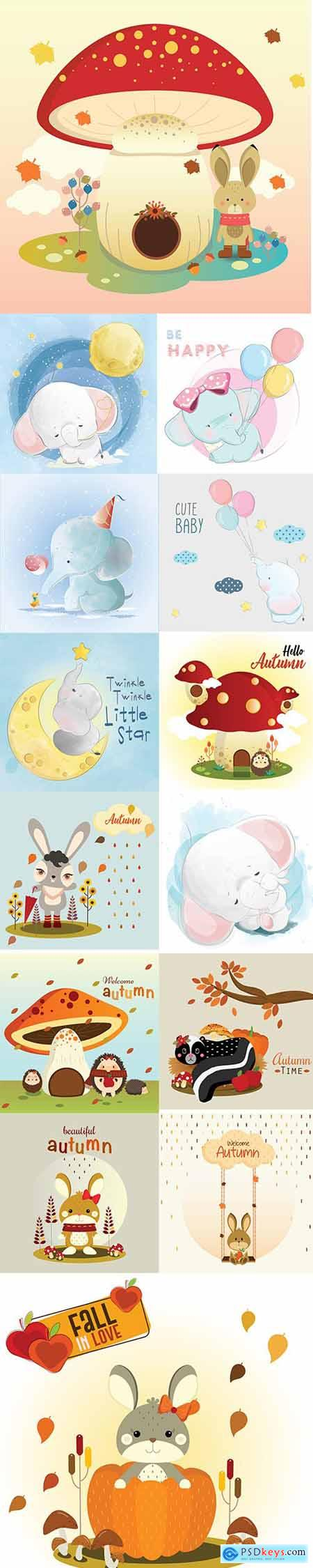 Hand Draw Lovely Cute Watercolor Animal Pack 6