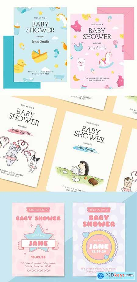 Cute Baby Shower Invitation Card Templates Set