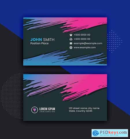 Dark Colorful Business Card Layout 281127347