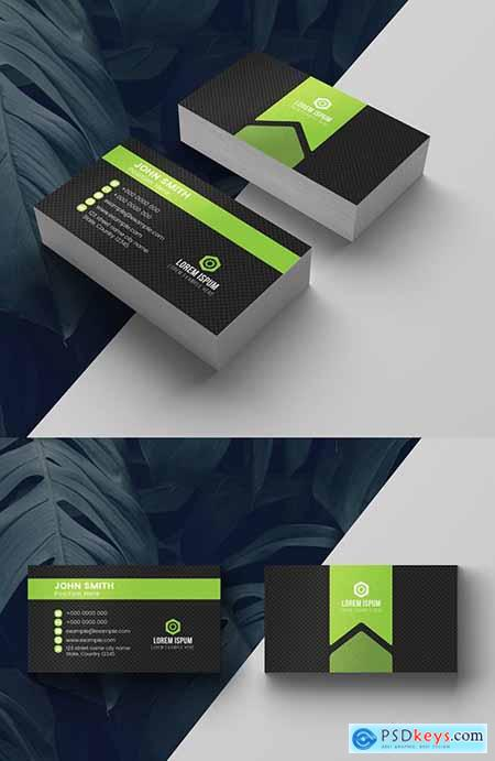 Green and Charcoal Business Card Layout 281130753