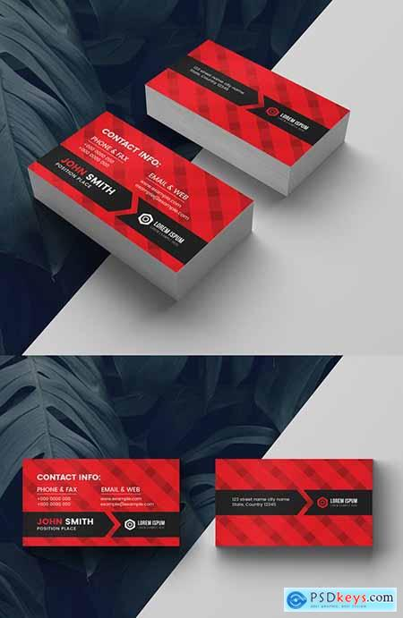 Corporate Business Card Layout with Red Accents 281127343