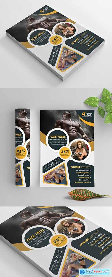 Fitness Flyer Layout with Yellow Accents 269583869