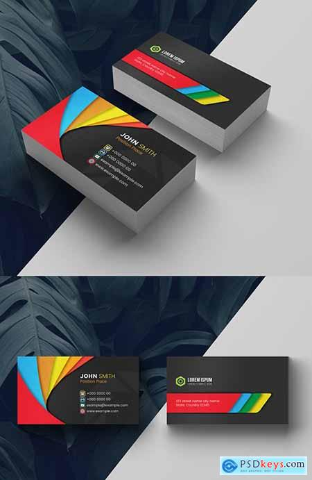 Multicolored Business Card Layout 278613771