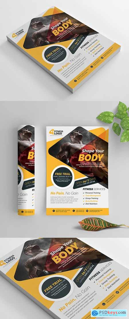 Fitness Flyer Layout with Yellow Accents 269583860