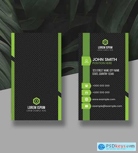 Green Vertical Business Card Layout 278998323