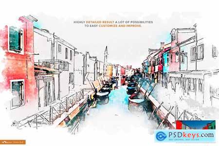 Urban Art - Mixed Aquarelle Sketch 4080875
