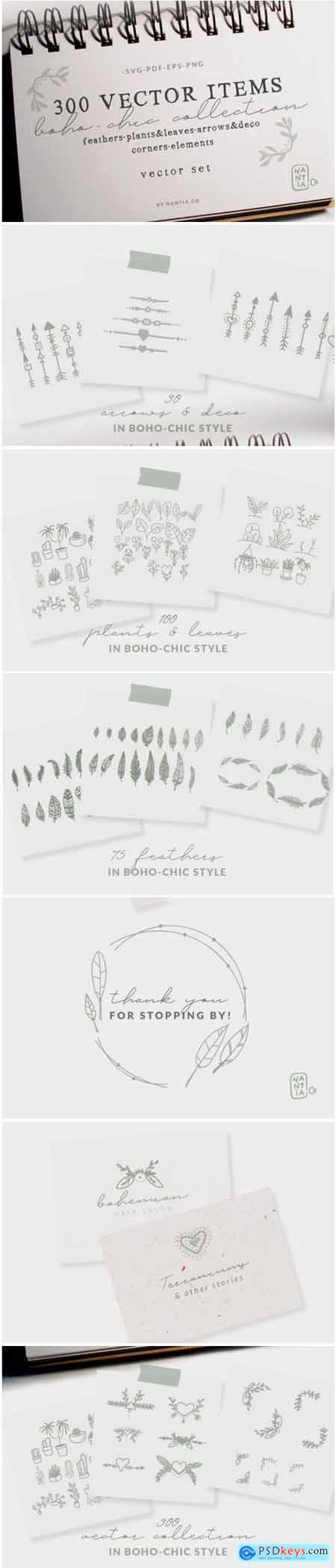 300 Boho-Chic Vectors Mega Pack 1761494
