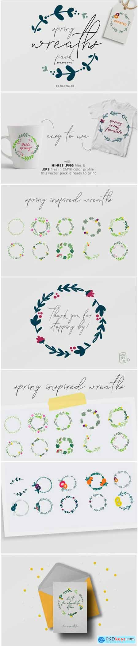Spring Wreaths Vector Pack 1761512