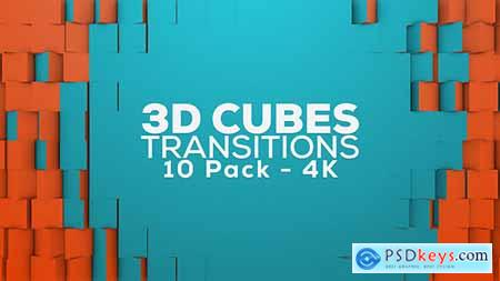 Videohive 3D Cubes Transitions 10 Pack 4K 18516316
