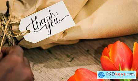 Closeup of thank you flower bouquet 398956