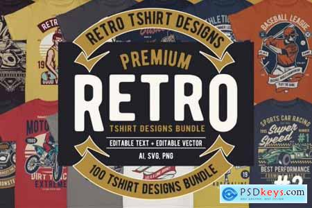 100 Premium Retro T-shirt Designs 2