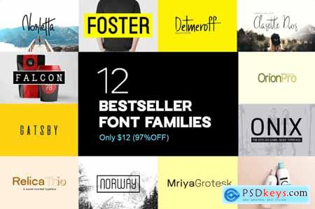 12 Best-Selling Typefaces (54 Fonts) from Designova