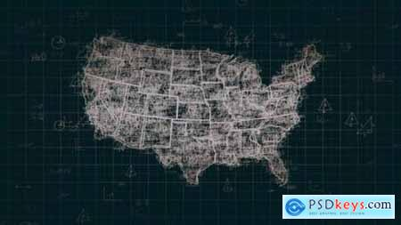 Videohive Black Abstract Math USA Map 4K 24631641