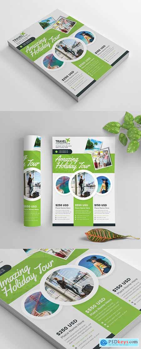 Green Business Flyer Layout with Circular Photo Elements 269035419