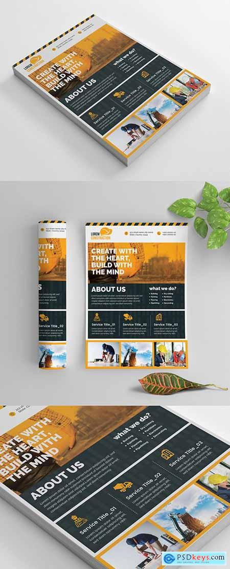 Construction Work Flyer Layout with Graphic Elements 269035412