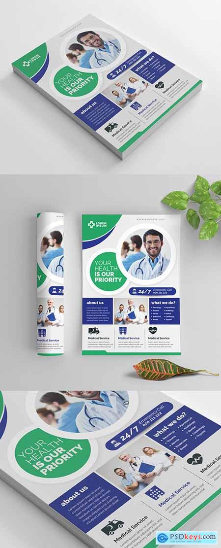 Green and Blue Medical Flyer Layout with Circular Elements 269035408