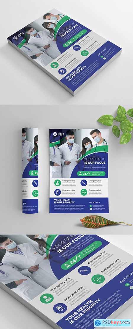 Medical Service Flyer Layout with Graphic Elements 269035418
