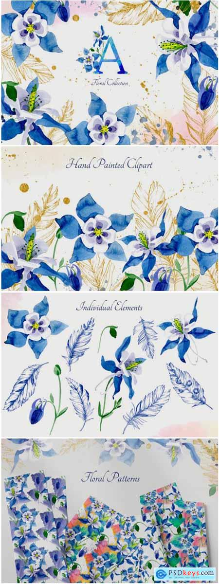 Watercolor Flower Aquilegia Blue Png 1777826