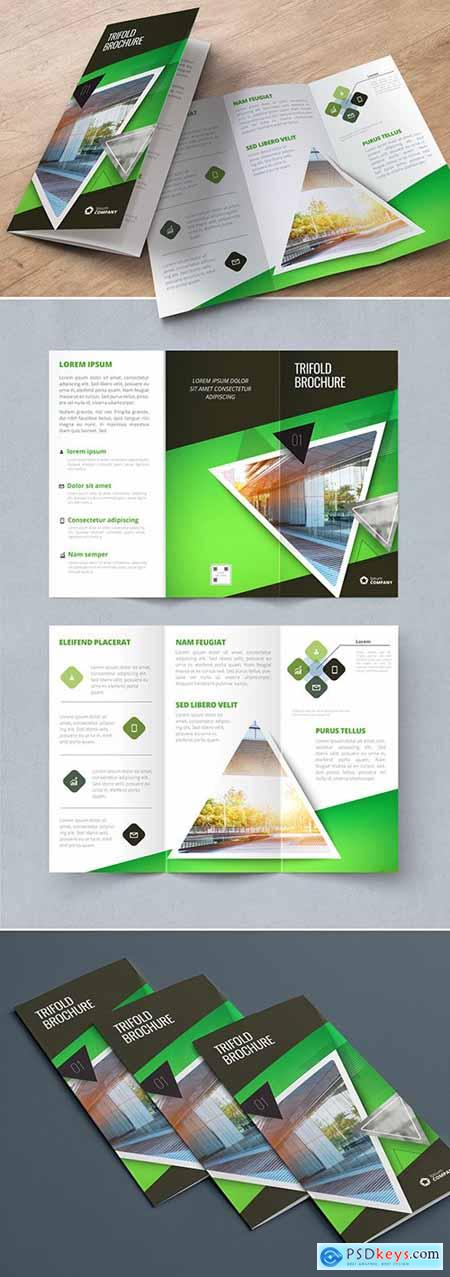 Green Trifold Brochure Layout with Triangles 267840435