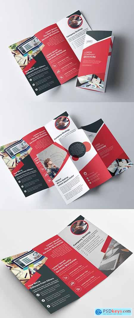 Red and Black Tri-fold Brochure Layout 222187478