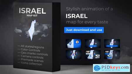 VideoHive Israel & Palestinian Territories Map - State of Israel Map Kit 24673149