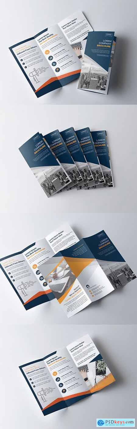 Blue and Orange Tri-Fold Brochure Layout 211150014
