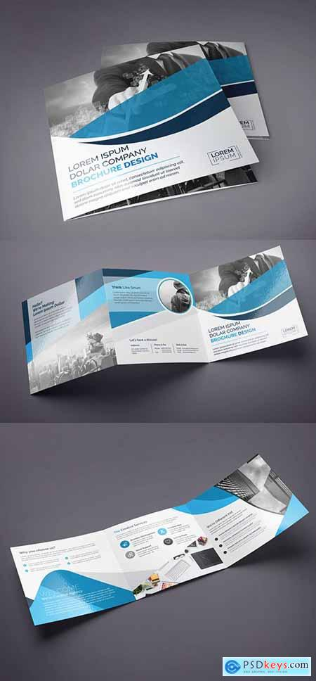 Blue Square Tri-Fold Brochure Layout 222187466