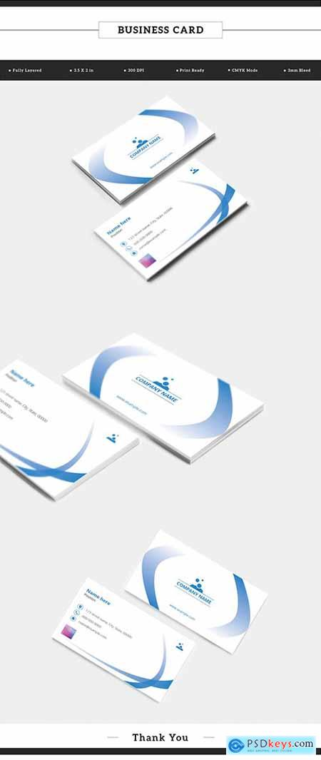 Business Card Layout with Blue Gradient Ribbon Elements 198104771