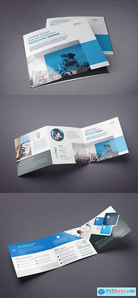 Blue and Black Square Tri-Fold Brochure Layout 222187448