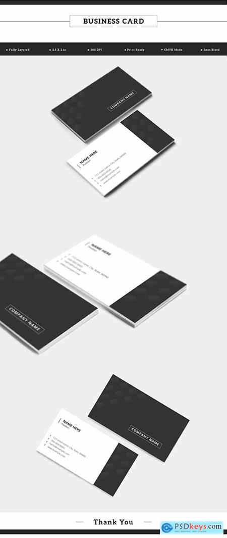 Dark Gray and White Business Card Layout with Pattern 198104778