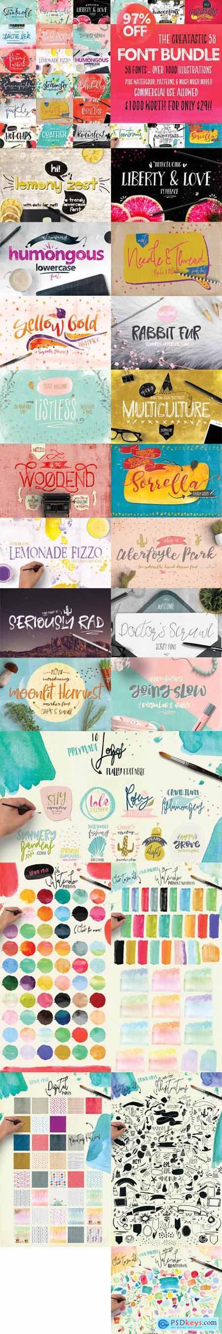 Creativeqube Design Studio - The Greatastic 58 Font Bundle - Over 1000 Illustrations + Patterns