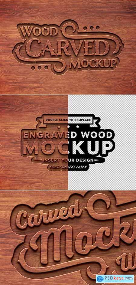Carved Wood Text Effect Mockup 285147359