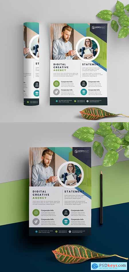 Corporate Flyer Layout with Blue And Green Elements 290392313