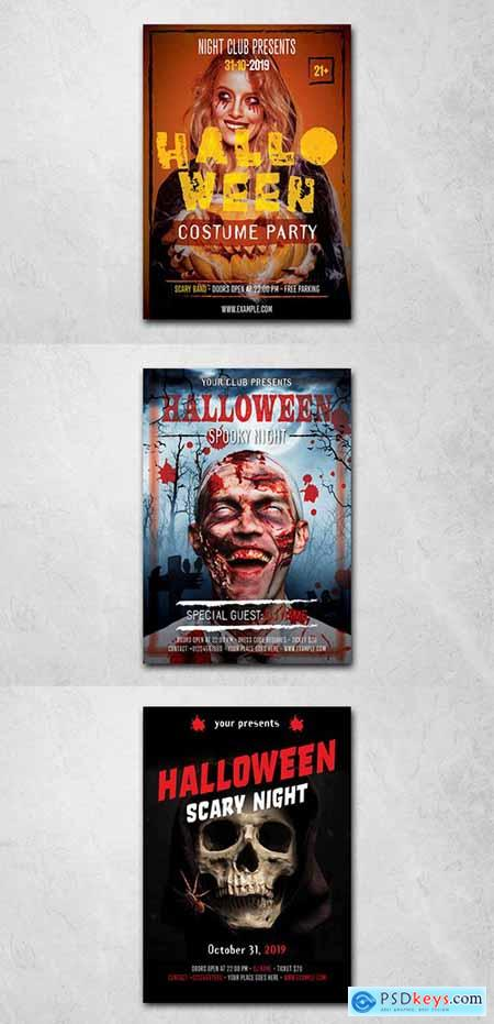 Halloween Flyer Layout with Stylized Text 291959924