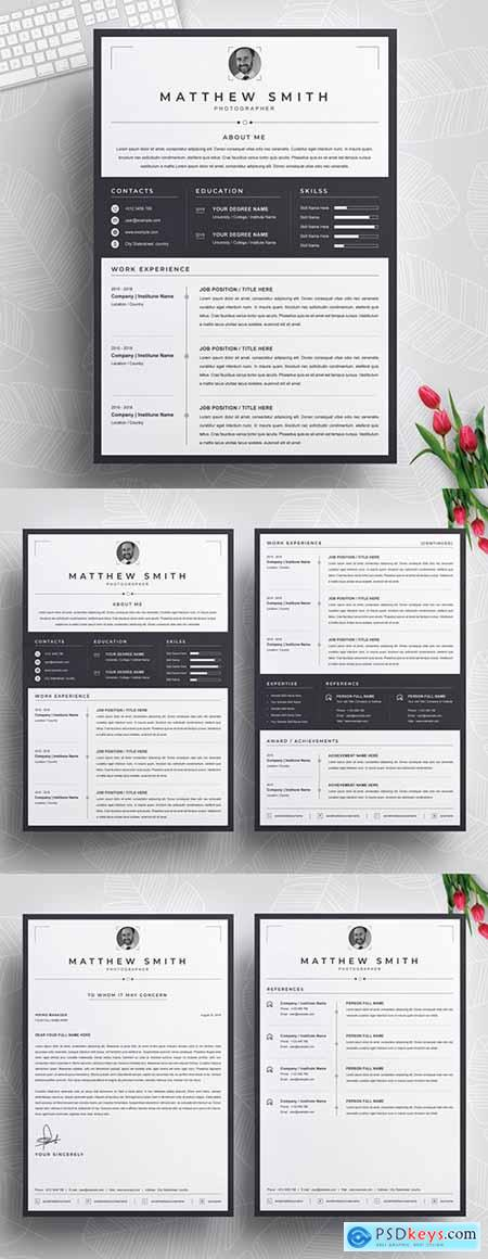 Resume Layout with Black Border 290395941