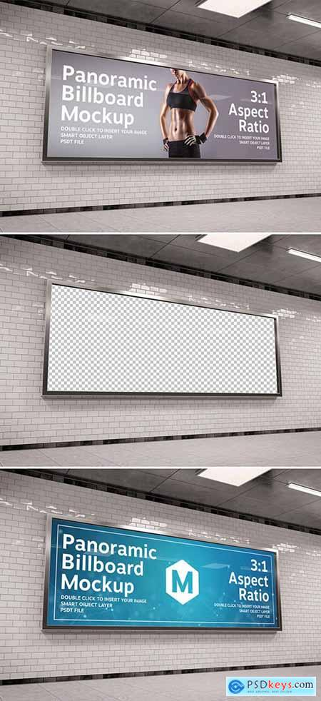 Wide Panoramic Frame in Underground Tunnel Mockup 283964280
