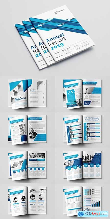 Annual Report Layout with Blue Accents 282703292