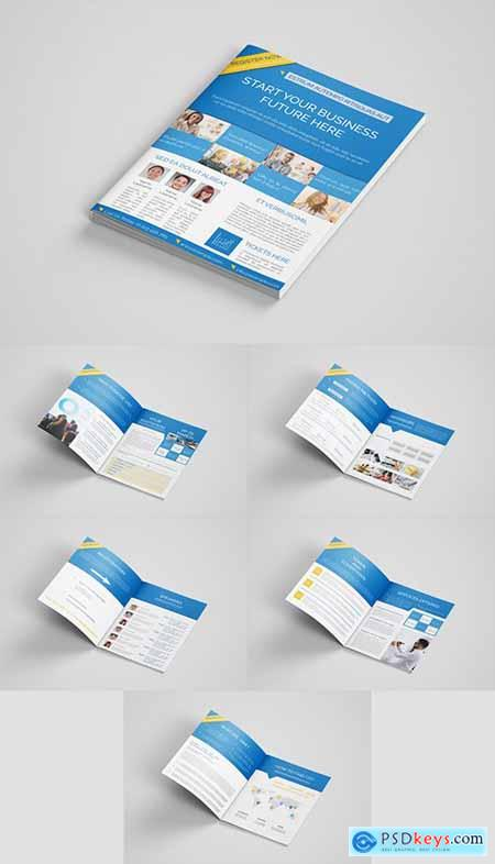 Business Event Brochure Layout with Blue Accents 291818248