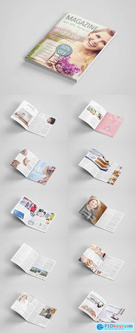 Magazine Layout with Colorful Accents 291818315