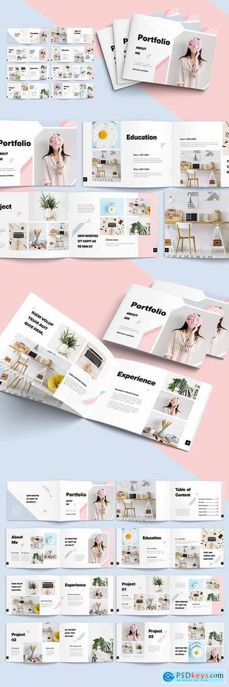 Landscape Portfolio Layout with Pink and Blue Pastel Elements 282730225