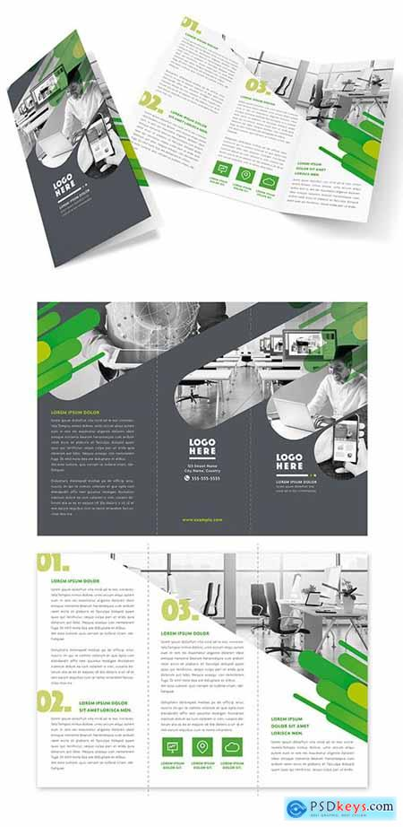 Gray and White Trifold Brochure Layout with Green Accents 282910273