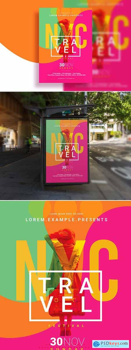 Poster Layout with Colorful Swirl Background Element 286585949