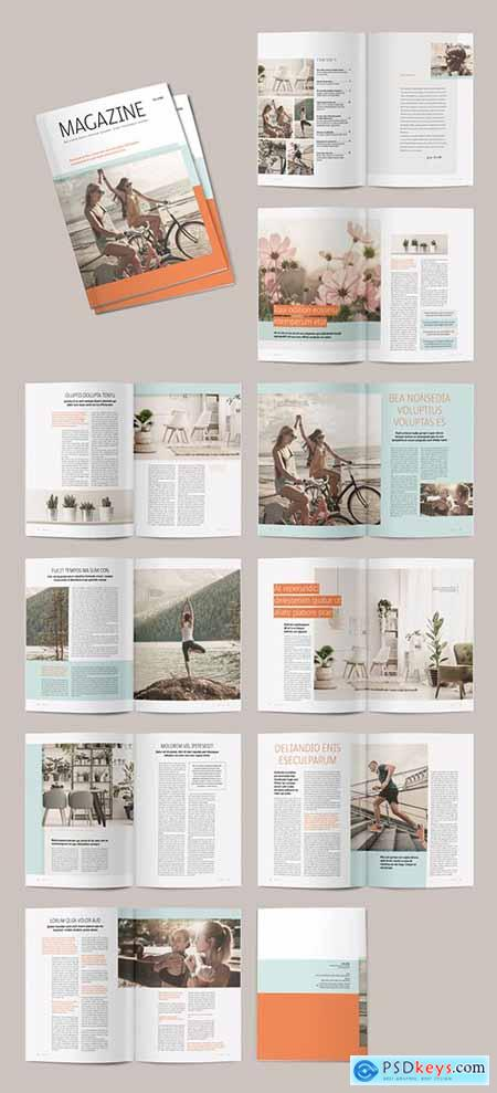 Magazine Layout with Teal and Orange Accents 291552064