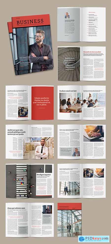 Magazine Layout with Red Accents 291552074