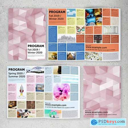 Program Brochure Layout with Colorful Grid 289155734