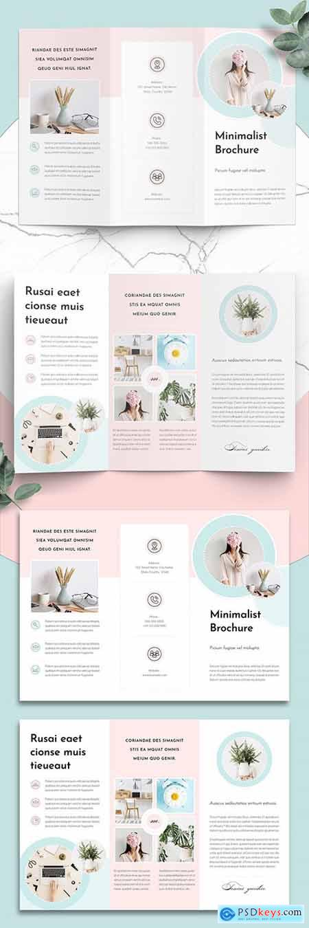 Minimalist Brochure Layout with Mint and Pink Accents 284154034