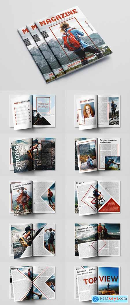 Magazine Layout with Red Accents 282703369