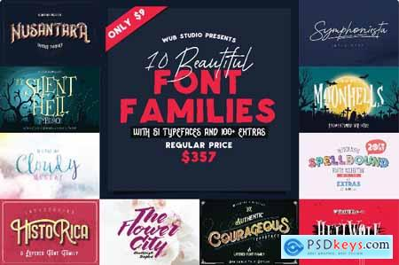 Wub Studio Font Bundle 10 Font Families (150+ Fonts and Extras)