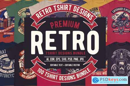 100 Premium Retro T-shirt Designs
