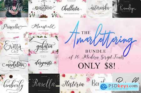 The Amarlettering Bundle of 16 Modern Script Fonts